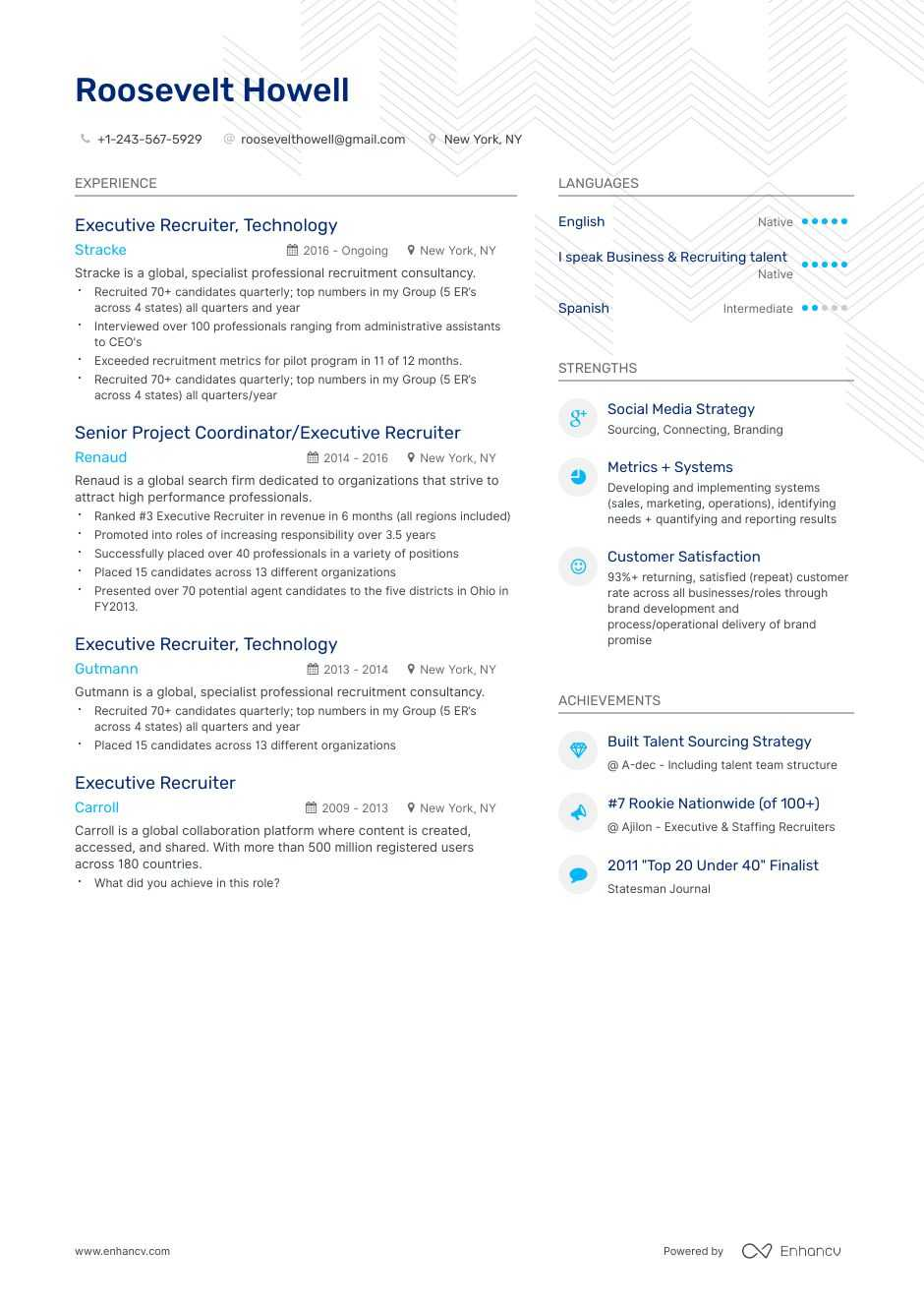 executive recruiter resume example
