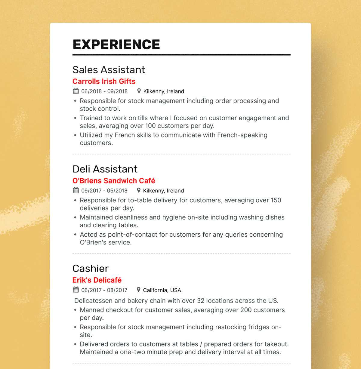 Retail resume experience section