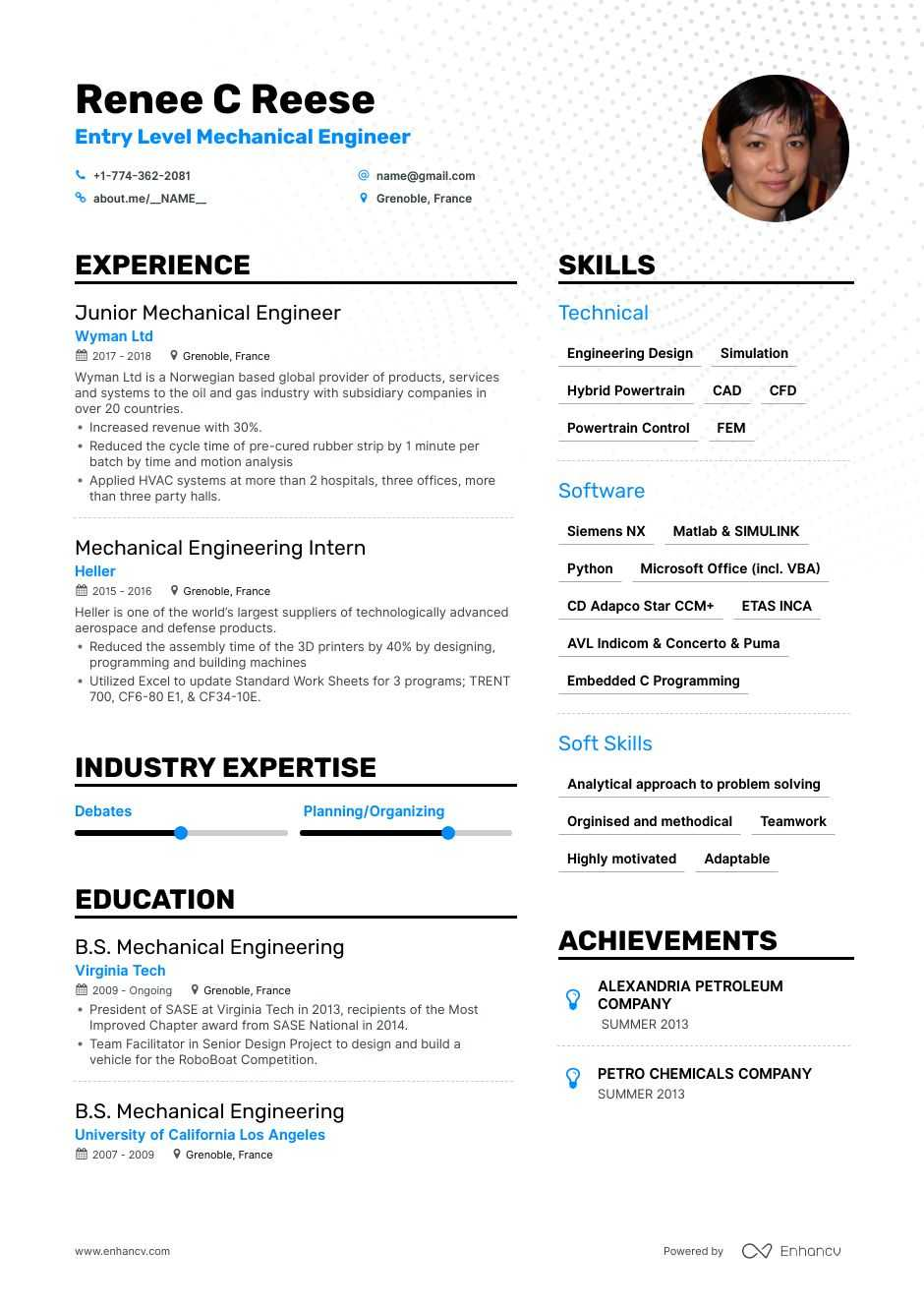 Top Entry Level Mechanical Engineer Resume Examples Expert Tips Enhancv Com