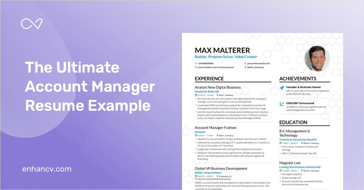 Account Manager Resume Example And Guide For 2019