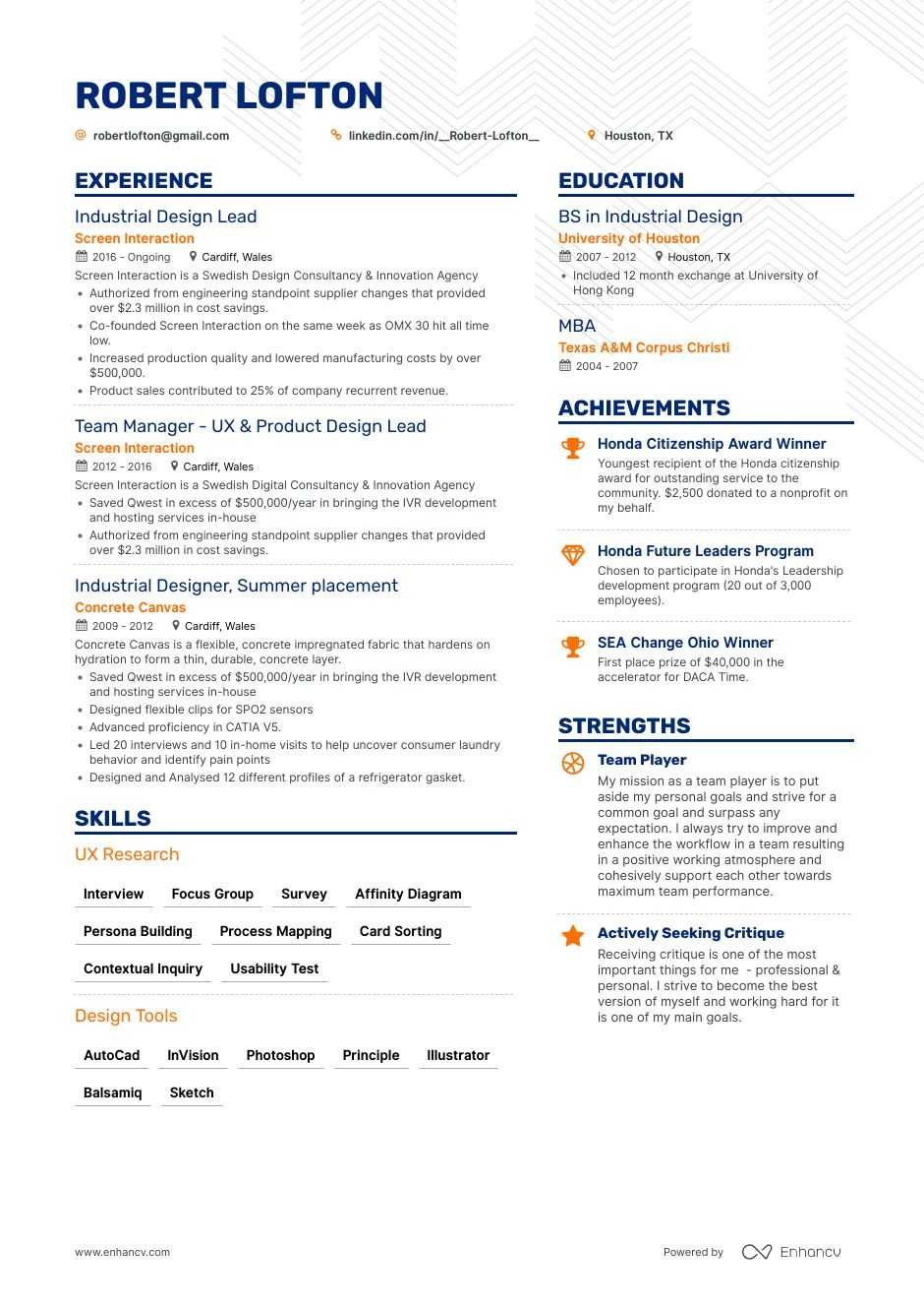 industrial designer resume example