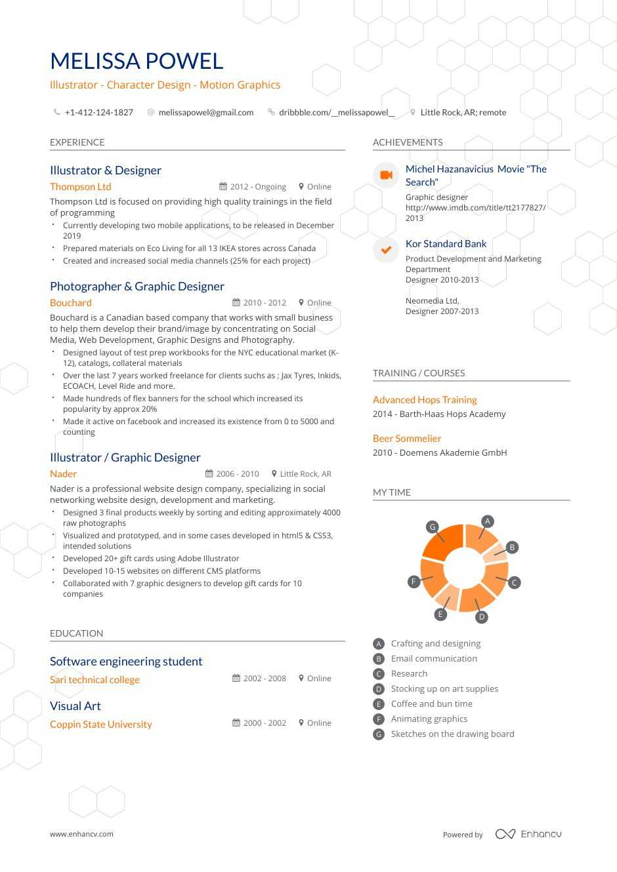 Download Illustrator Resume Example For 2020 Enhancv Com