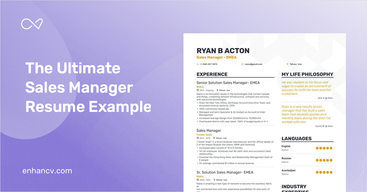 Sales Manager Resume Samples and 10+ Examples