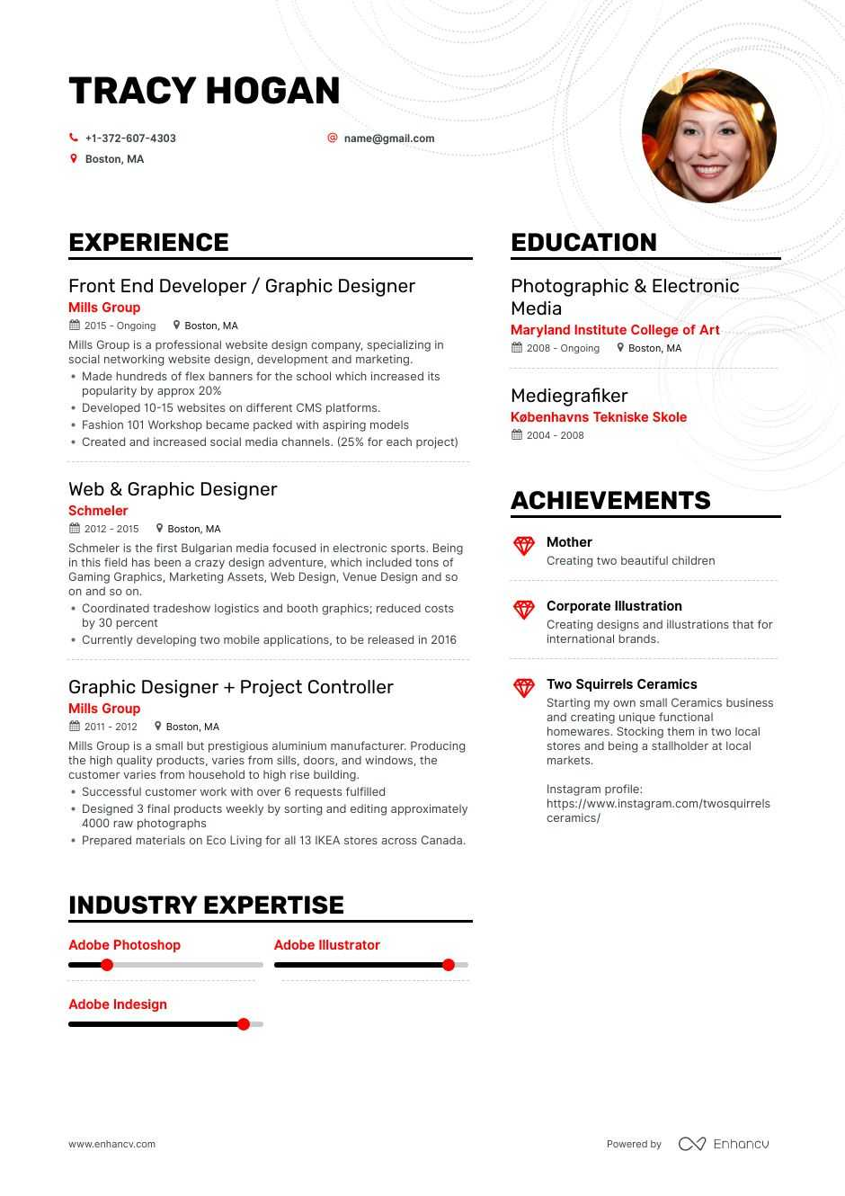 freelance graphic designer resume examples