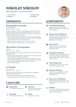 Photographer Resume Example And Guide For 2019