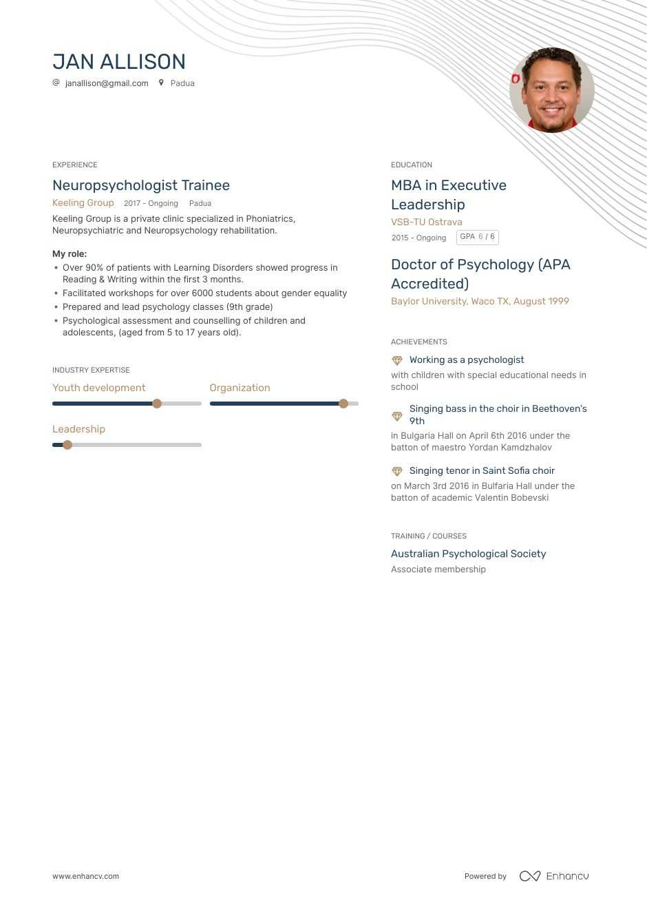 psychologist resume example