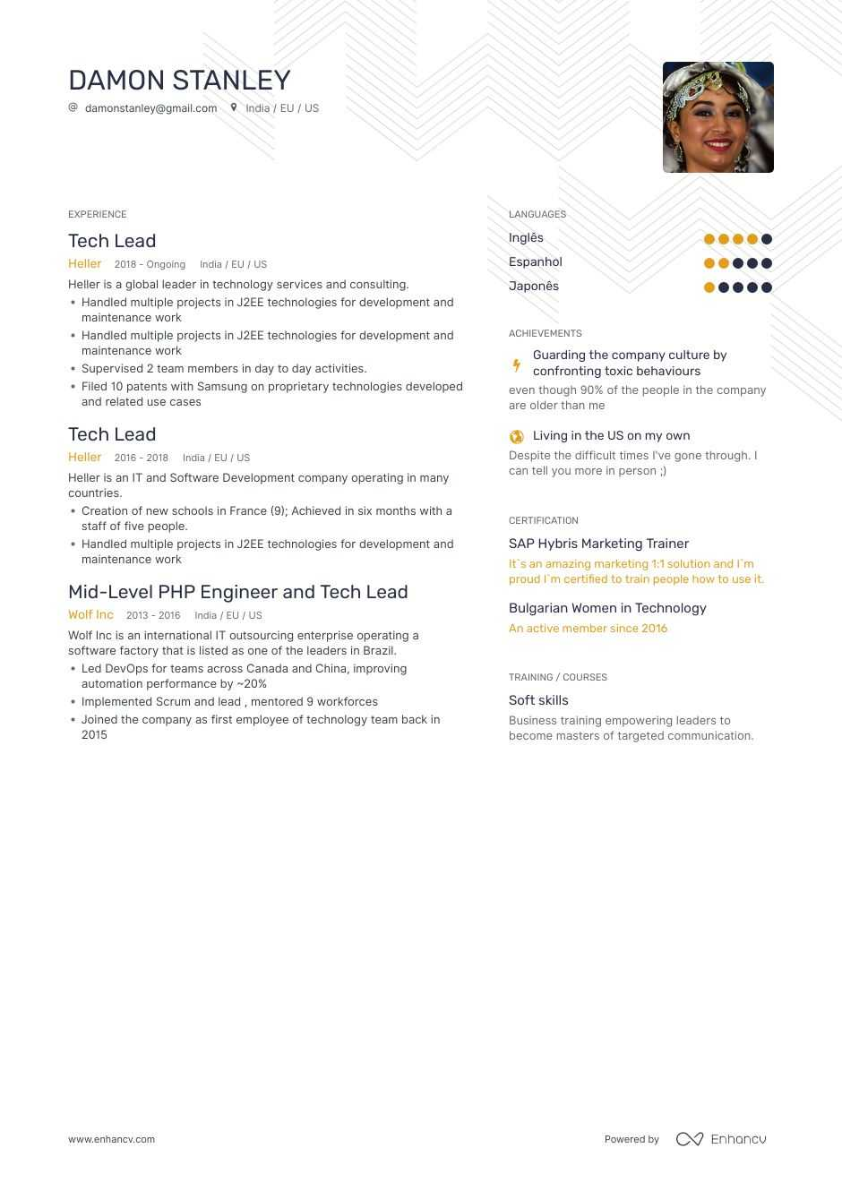 tech lead resume example