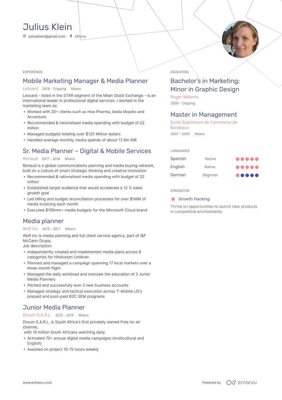 media planner resume example