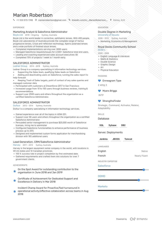 Salesforce Resume Examples Expert Advice Enhancv Com