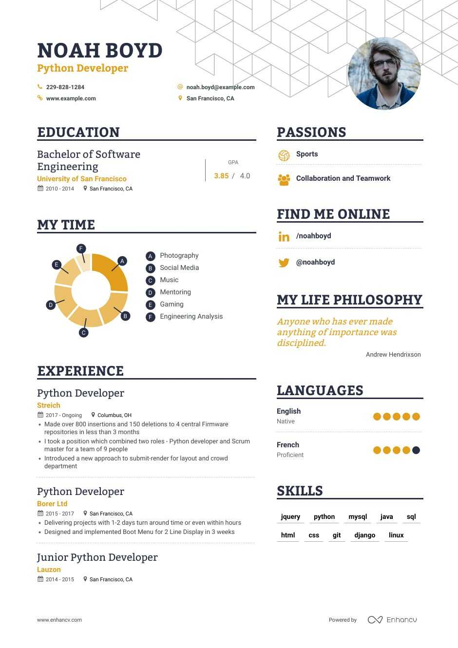python developer resume example