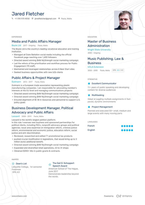 top public affairs resume examples  u0026 samples for 2020