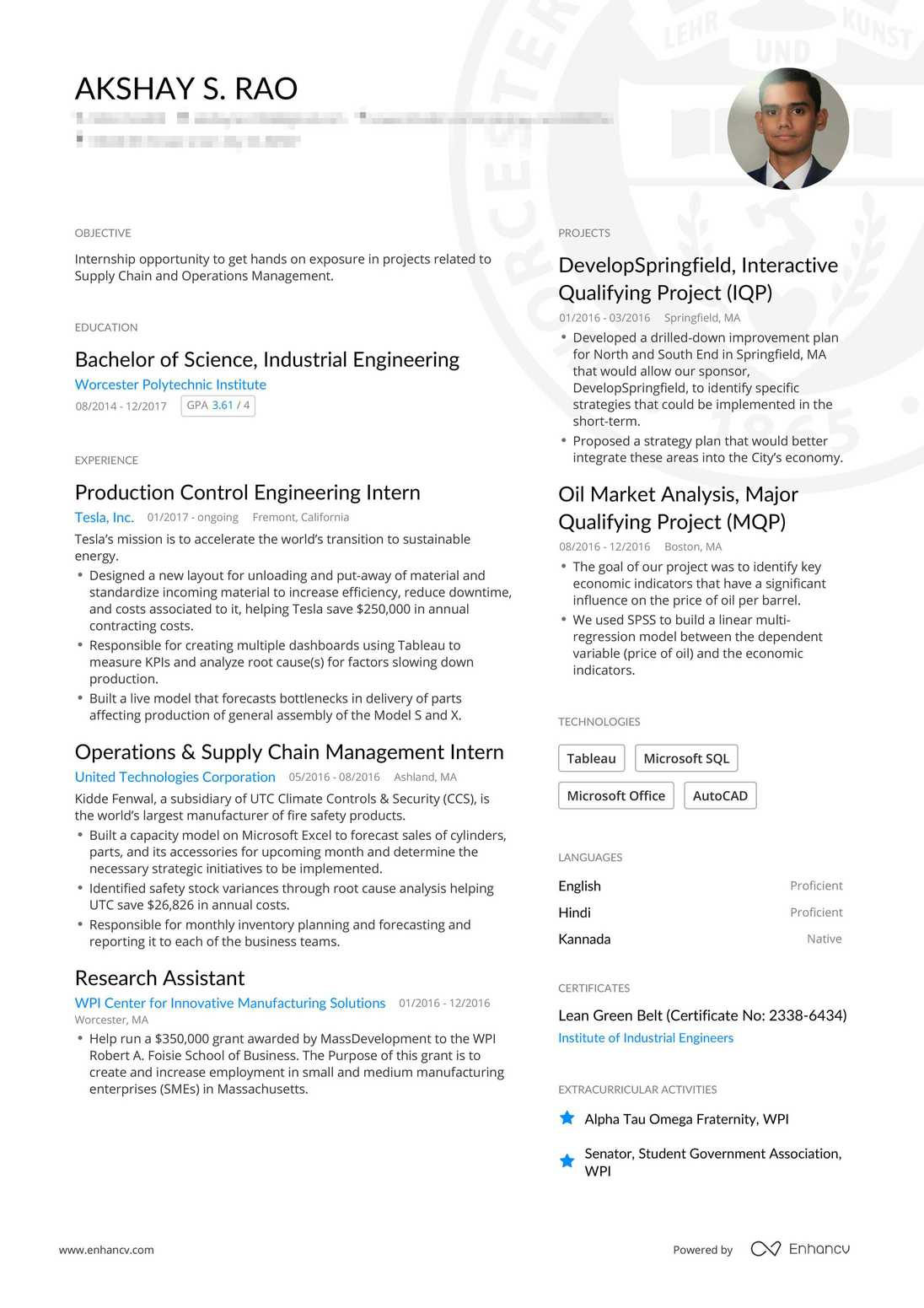 Real College Graduate Resume Example | Enhancv
