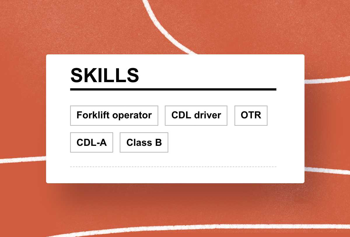 Truck Driver resume skills example