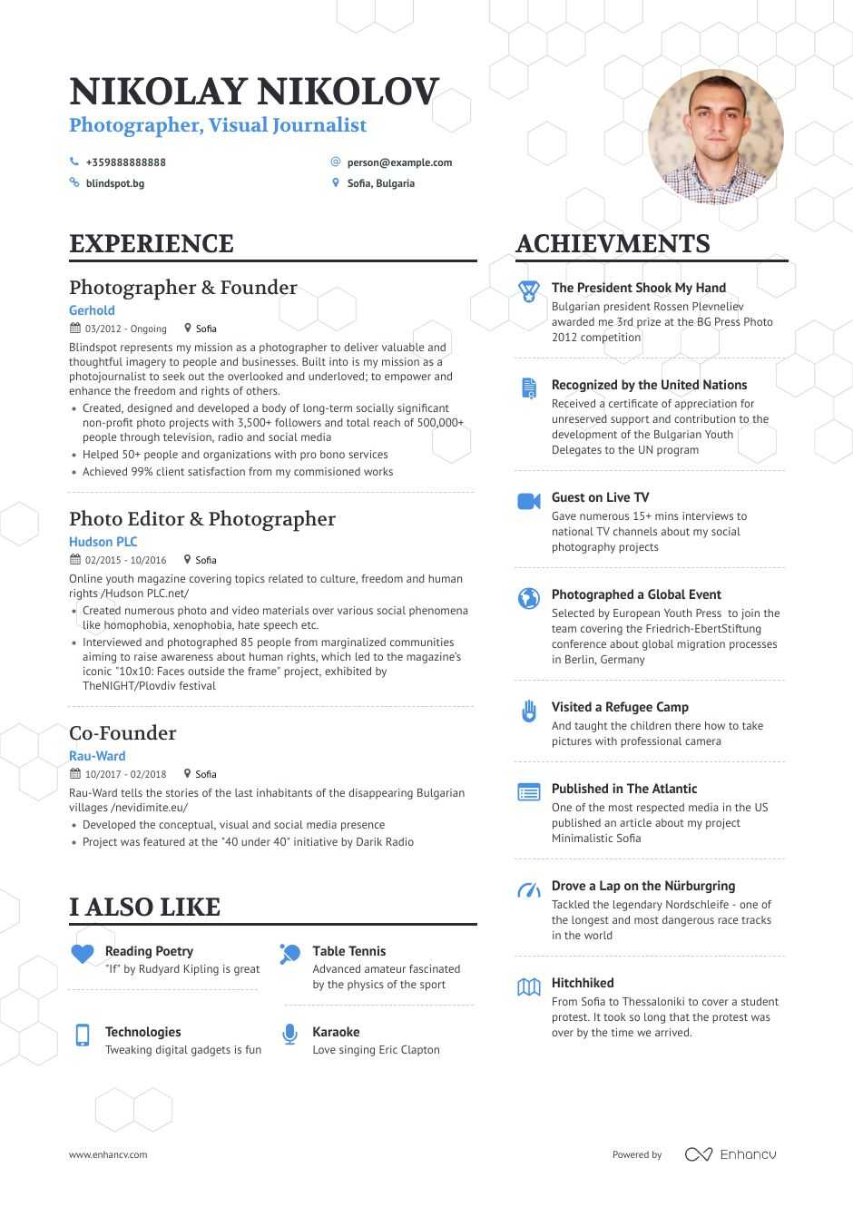 photographer resume example