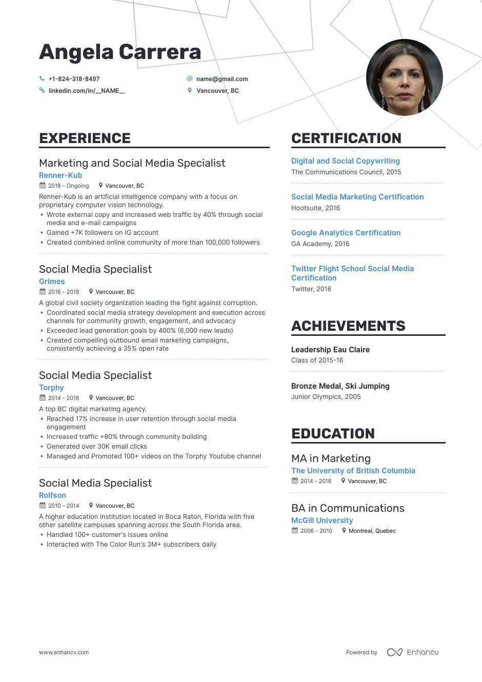 social media marketing resume example