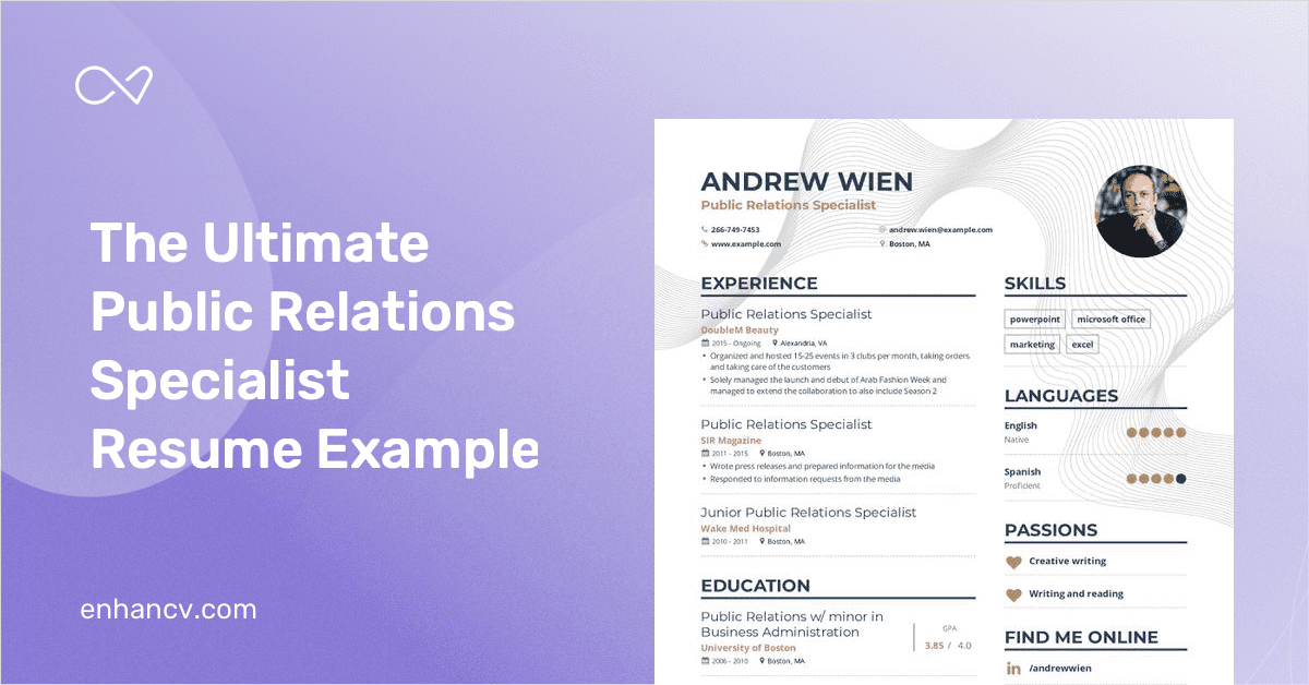 Public Relations Specialist Resume Example And Guide For 2019
