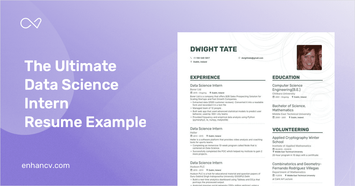 data science intern resume example and guide for 2019