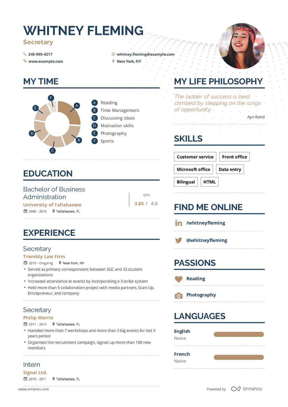 Secretary Resume Example And Guide For 2019