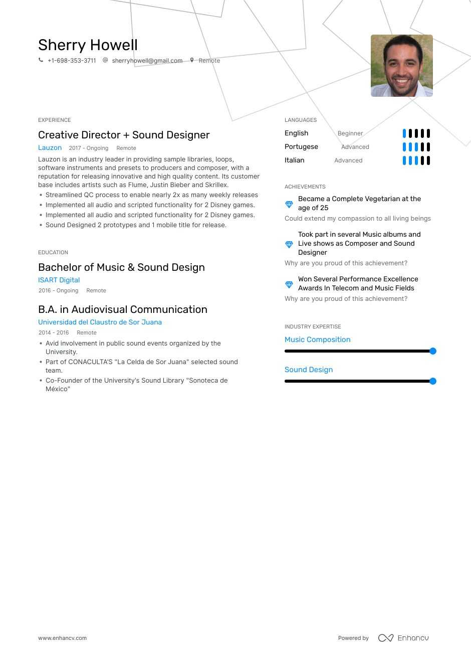 sound designer resume example
