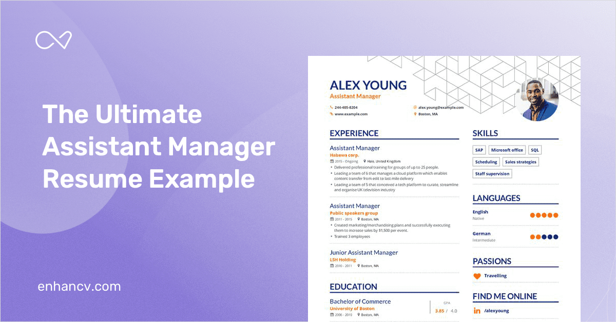 assistant manager resume example and guide for 2019
