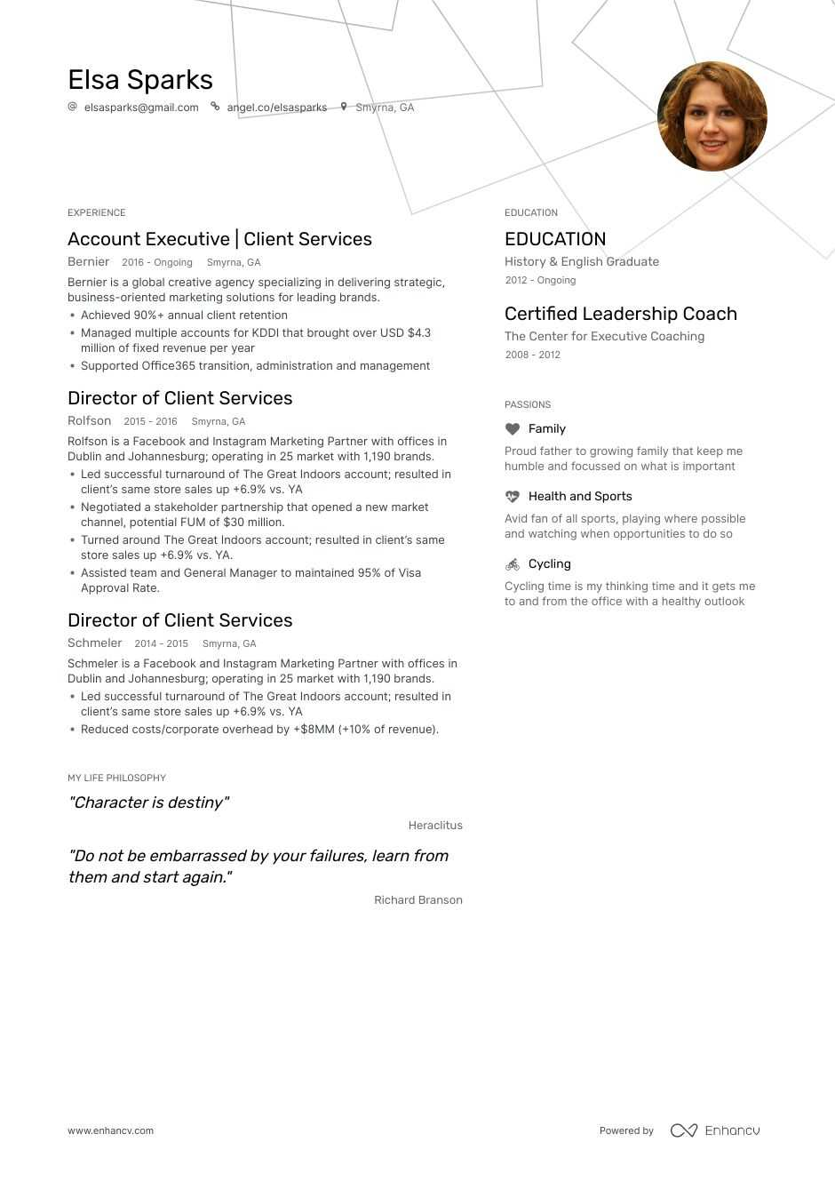 client services resume example