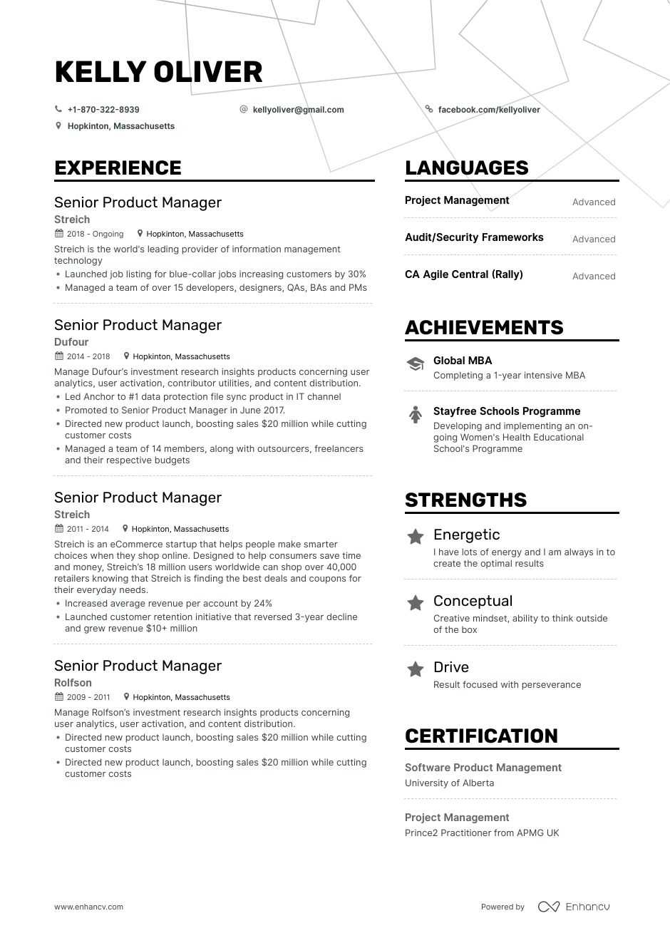 senior product manager resume example