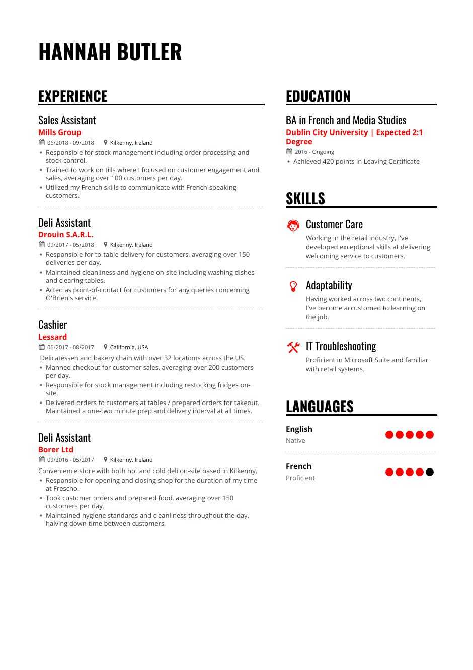 service resume example