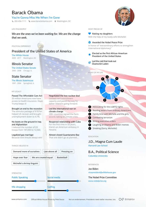 barack obama u0026 39 s resume example