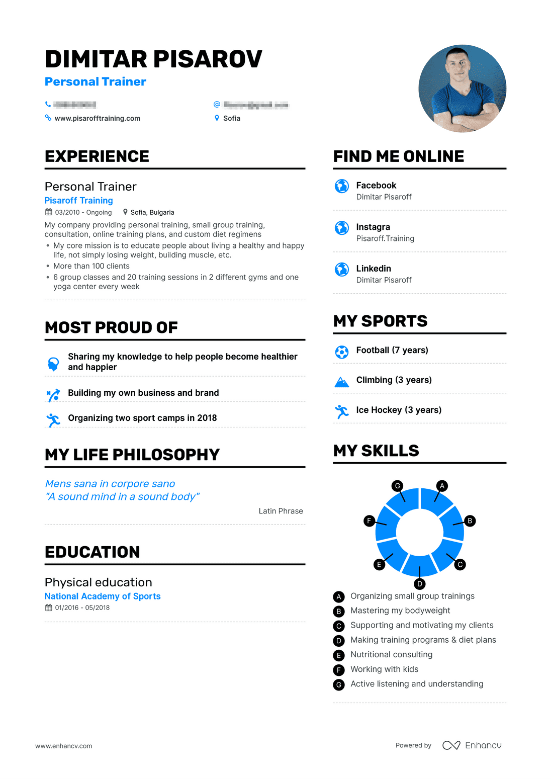 real personal trainer resume example enhancv