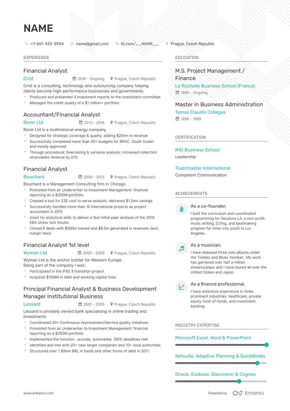 entrylevel financial analyst resume examples skills