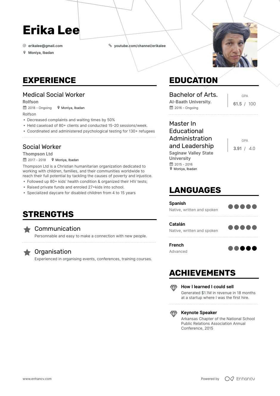 DOWNLOAD: Social Worker Resume Example for 2020 | Enhancv.com