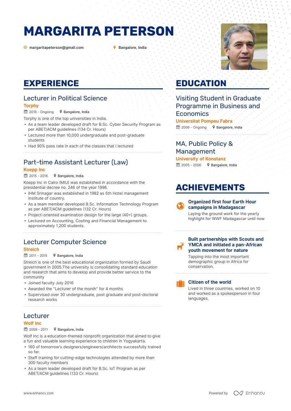 download  lecturer resume example for 2020