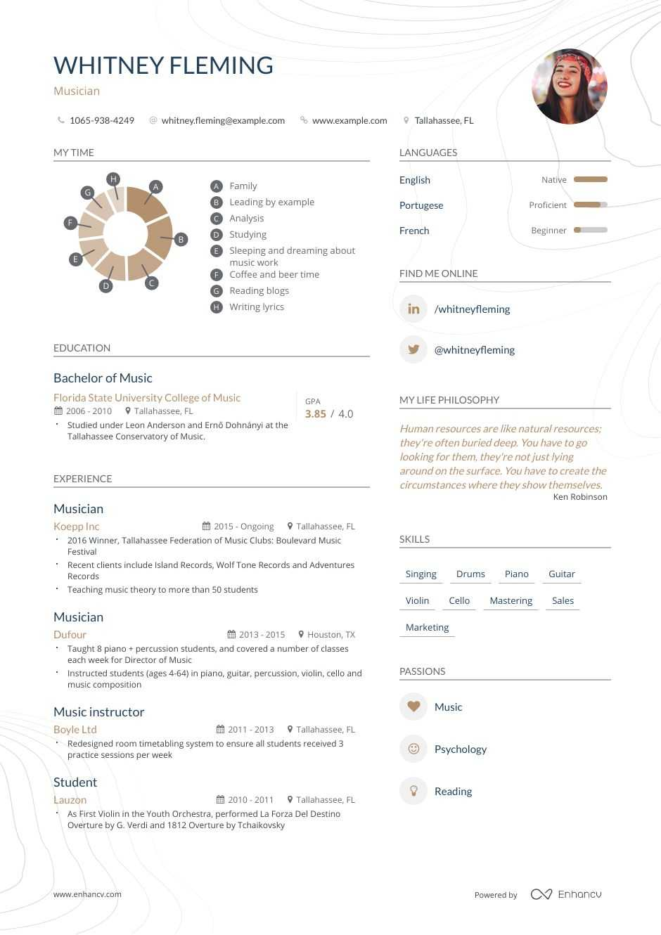 Musician Resume Example and guide for 2020