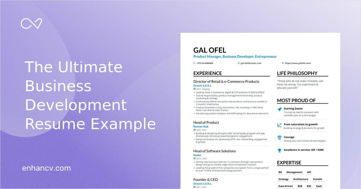 Business Development Resume Samples And Writing Guide For 2020 Enhancv Com