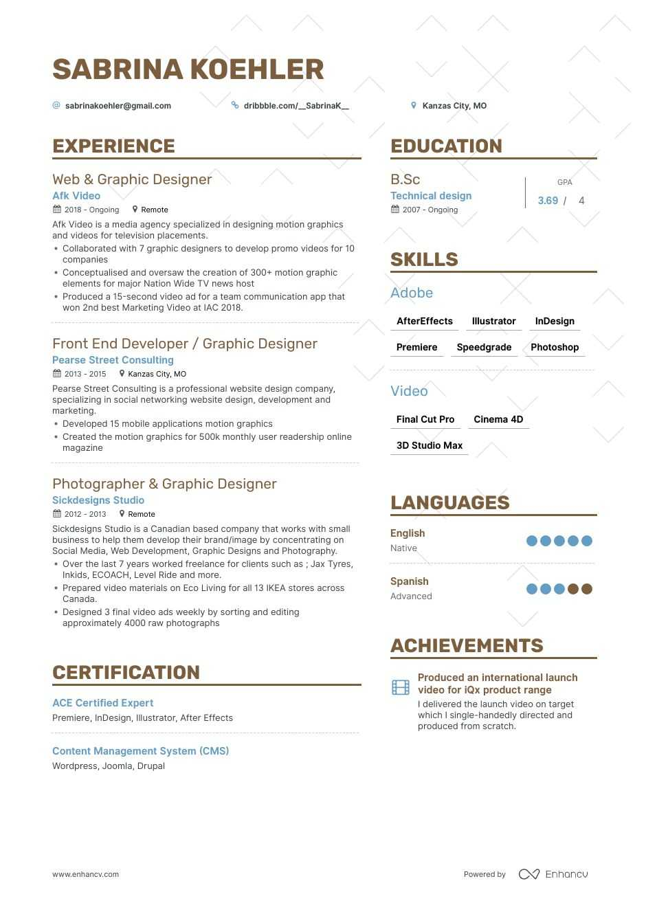 motion graphics designer resume example