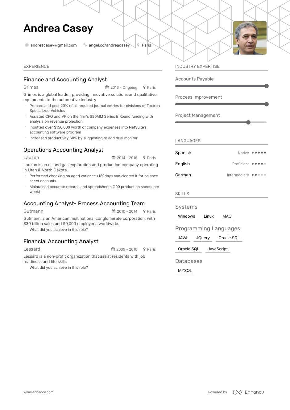 accounting analyst resume example