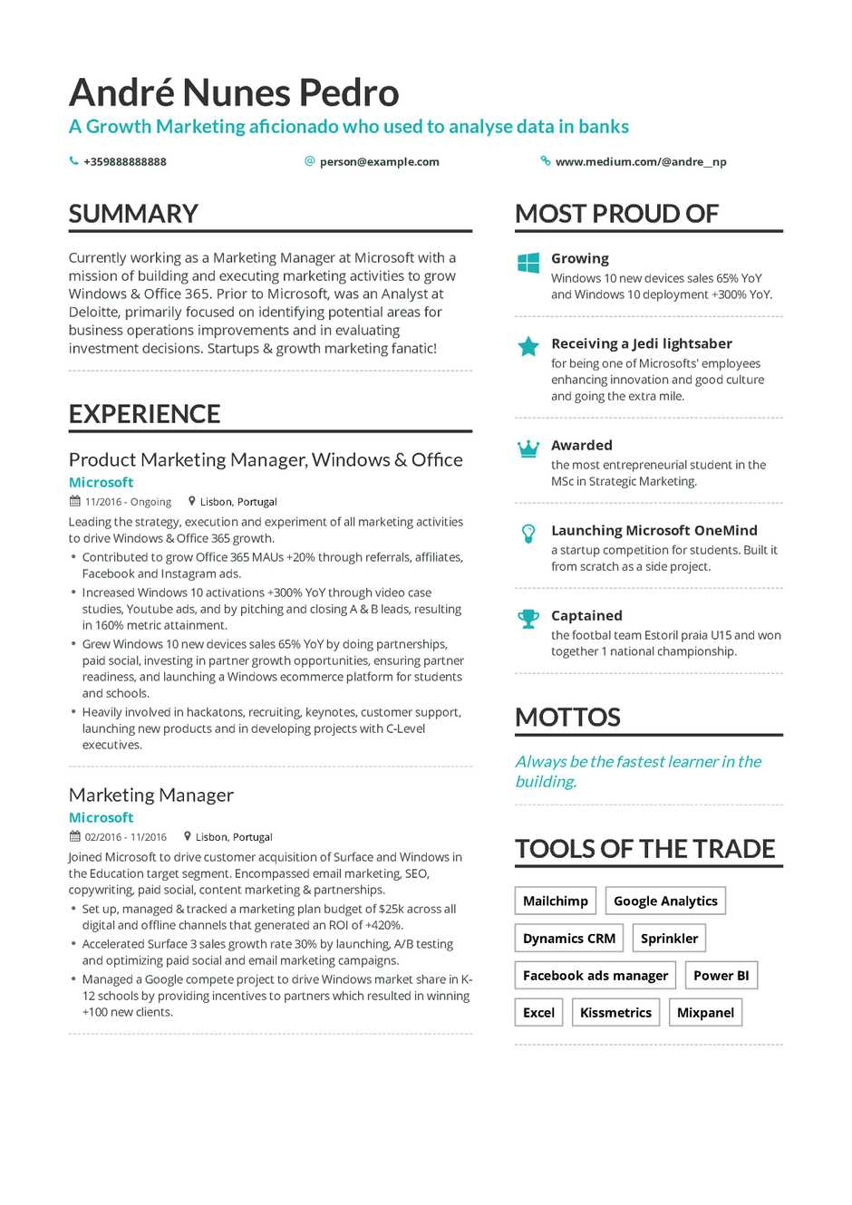 growth marketing resume example