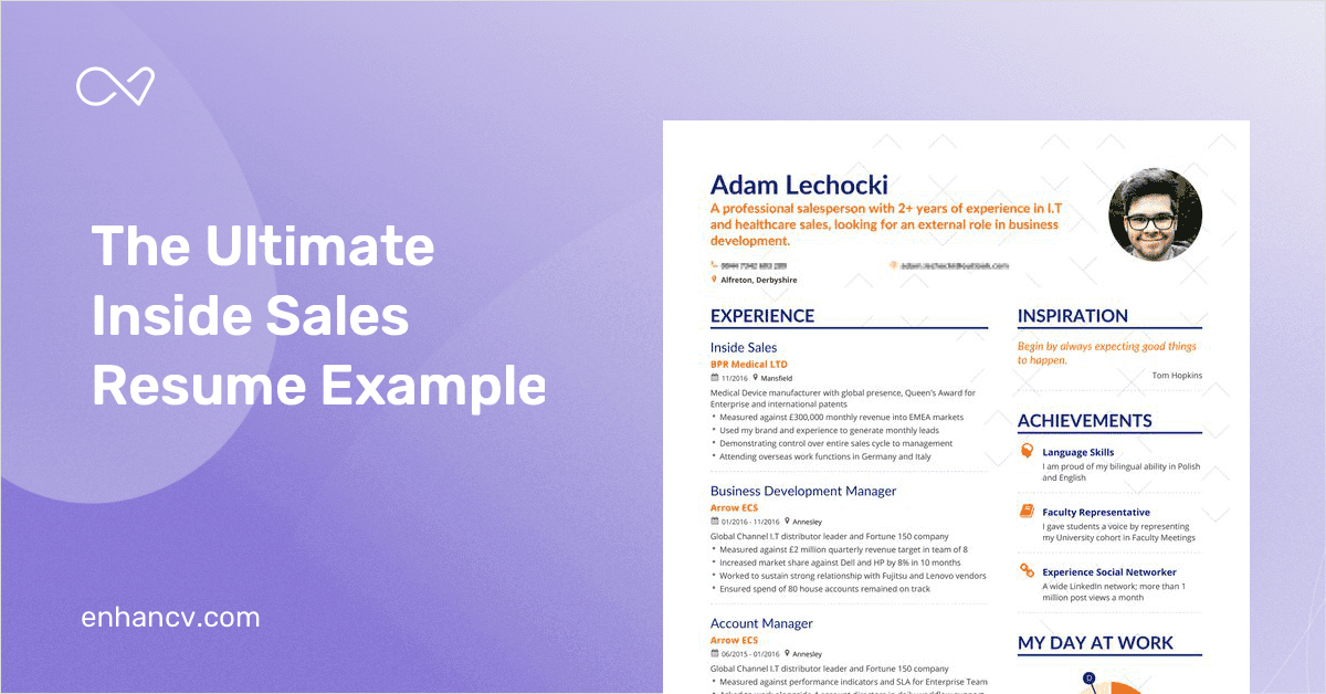 inside sales resume example and guide for 2019