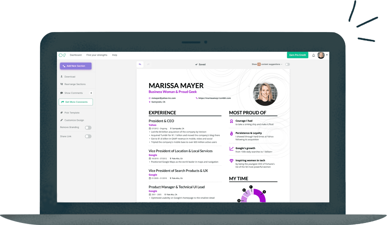 marissa mayer resume builder