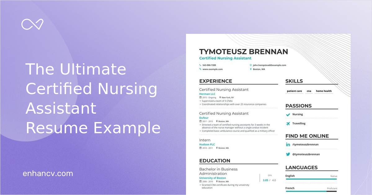 certified nursing assistant resume samples and writing