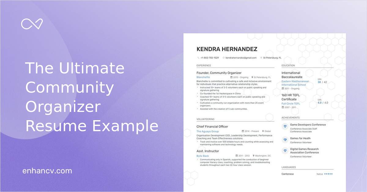 download  community organizer resume example for 2020