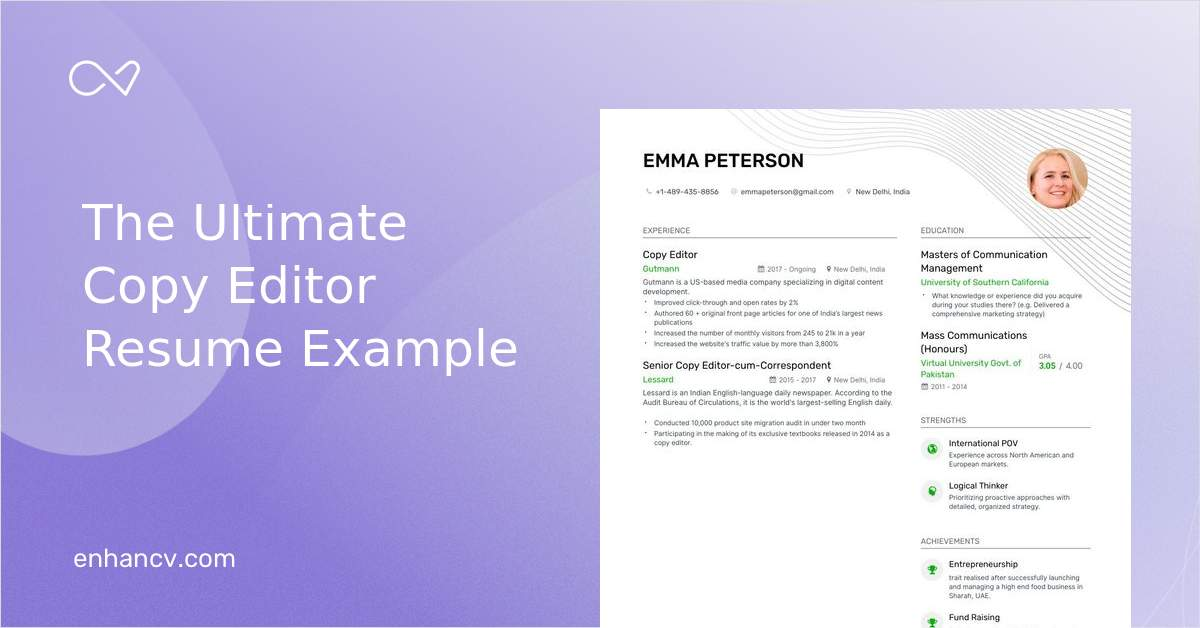 Copy Editor Resume Example and guide for 2020