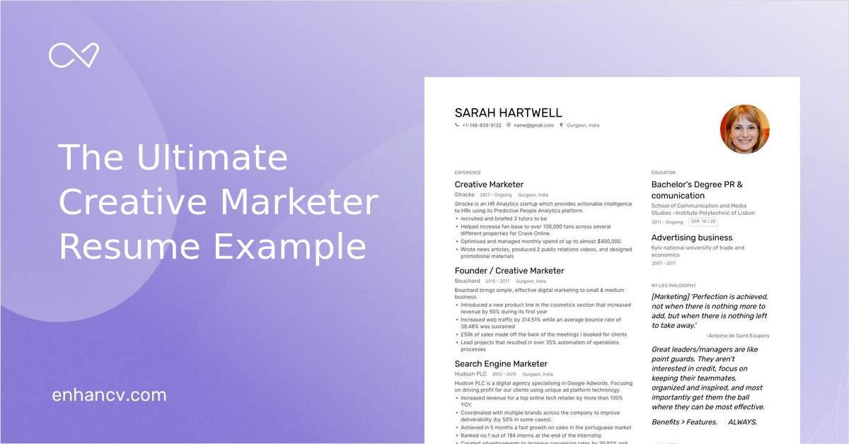 Creative Market Resume from enhancv.com
