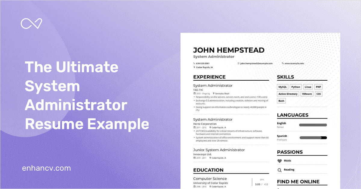 system administrator resume example and guide for 2019