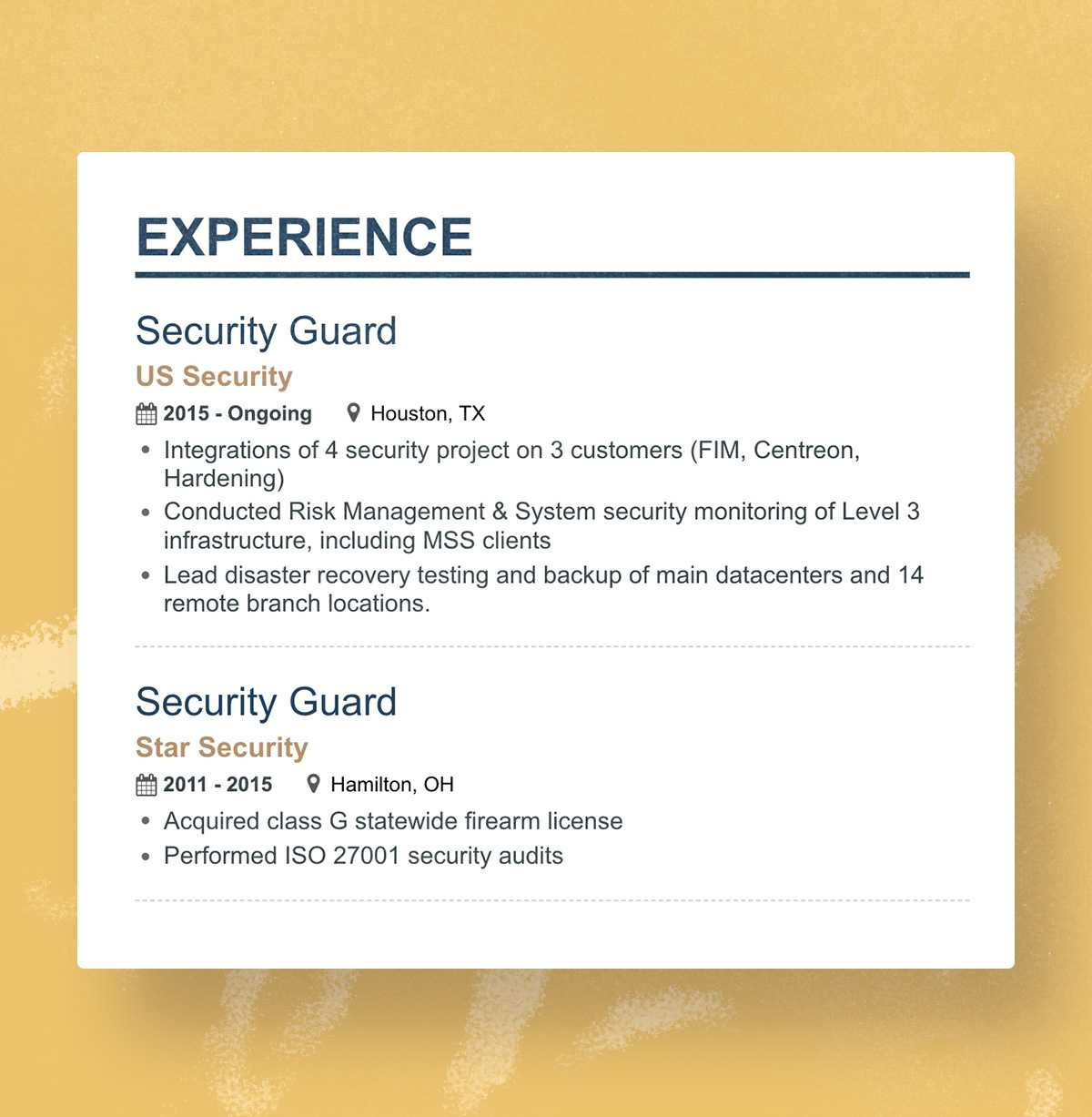 Security Guard Resume Experience