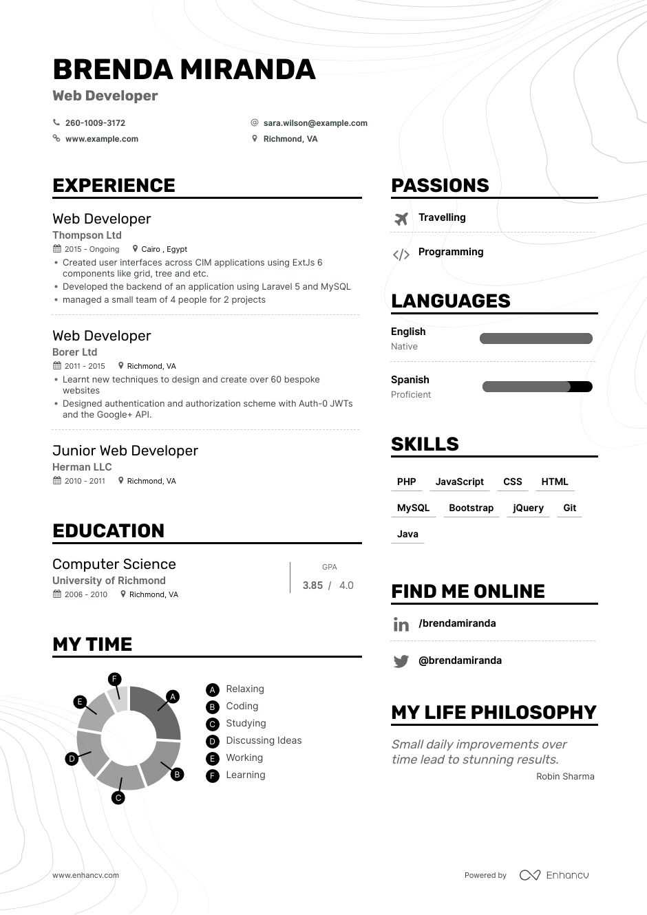 Web Developer Resume Examples Skills Templates More For 2020