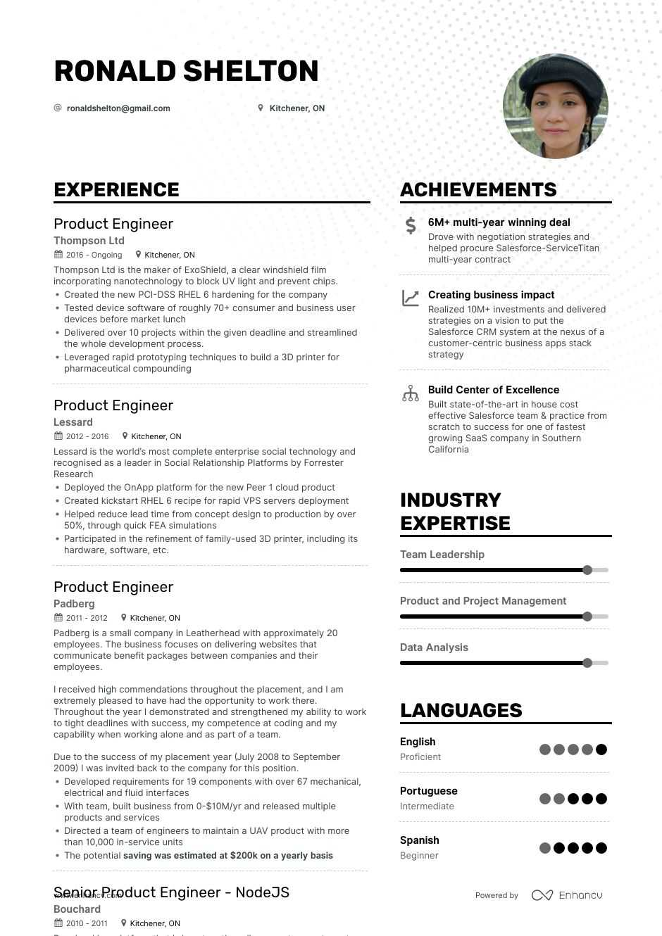 product engineer resume example