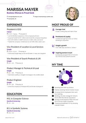 Marissa Mayer's resume preview