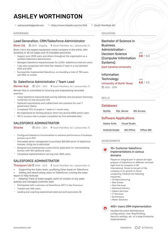 top salesforce administrator resume examples  u0026 samples for