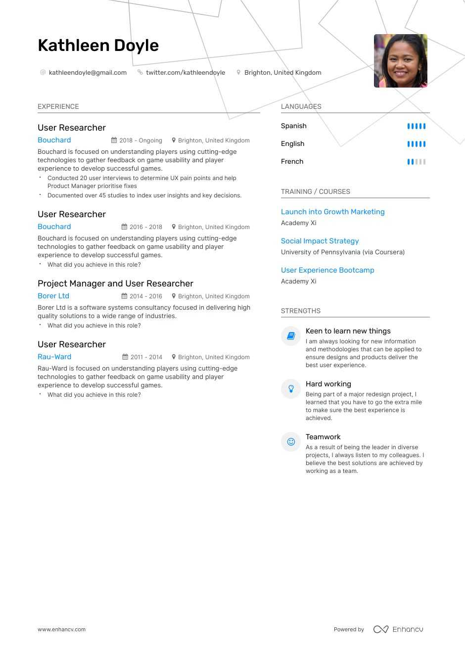 user researcher resume example